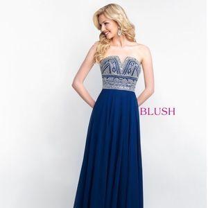 Blush Dresses - Blush 11571 Navy/Silver size 16